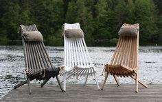 Sedia a sdraio in legno grigio e beige Jon, 105x90x65 cm | Dalani Home & Living