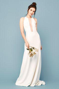 silk wedding dress with plunge neckline