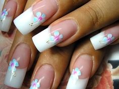 French manicure with flower detail