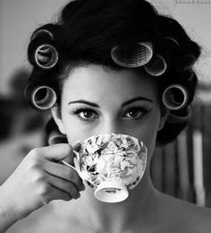 This is what I look like every morning...except it's hot coco instead of tea ;)