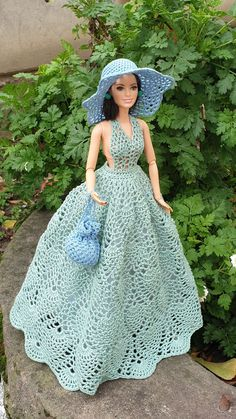 Crochet Doll Dress, Crochet Barbie Clothes, Crochet Doll Pattern, Knitted Dolls, Doll Clothes, Barbie Top, Barbie Dress, Wedding Doll, Barbie Patterns