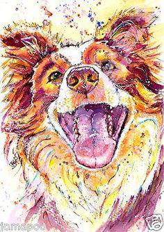 BORDER COLLIE PRINT of Original Watercolour DOG PUP Painting Art by JOSIE P