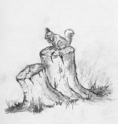 Teddy bears on stumps Squirrel on tree stump (graphite & water-soluble pencils . Teddy bears on stumps squirrel on tree stump (graphite & water-soluble pencils), Cornerjournal. Tree Sketches, Animal Sketches, Art Drawings Sketches, Animal Drawings, Tree Drawings Pencil, Landscape Pencil Drawings, Landscape Sketch, Drawings Of Trees, Realistic Drawings