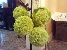 DIY tissue paper pomanders - great for aisle chairs at ceremony and maybe even centerpieces...I don't care if people know I can't afford real flowers! madelenegail
