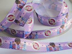 """Doc McStuffins Grosgrain Ribbon 5 yards of 7/8"""" Disney Print Purple Ribbon Girls Hair Bow Doc McStuffins Birthday Party Favor Ties Doc is In by HouseofHairDecor on Etsy"""