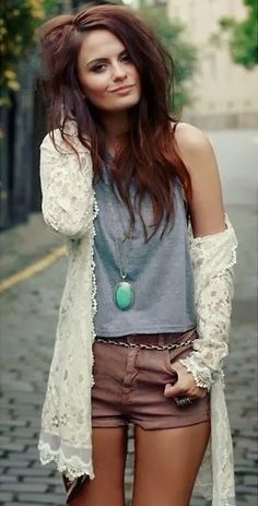 Pretty lace cardigan with brown shorts and pendent