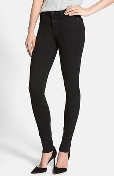 Women's 7 For All Mankind 'Slim Illusion Luxe' High Waist Skinny Jeans, Size 30 - Black (Black)