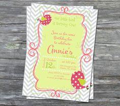 little bird girls 1st birthday party invitations