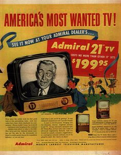 Vintage Admiral TV ad, 1950's