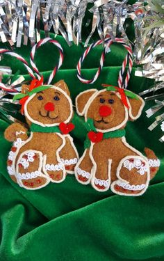 TWO Felt gingerbread ornaments-Gingerbread by DebsArtsyEnchantment