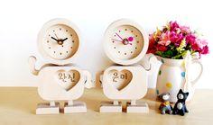 [바보사랑] 서로의 이름이 새겨진 시계를 선물하세요 /연인/시계/나무/우드/디자인시계/탁상시계/주문제작/이니셜/커플/기념일/선물/Couples/Clock/Wood/Design/Initials/Lover/Gift