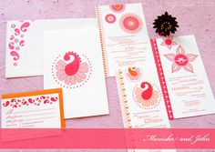 Manisha and John's intercultural letterpress wedding invitations. #pink #orange #Indian