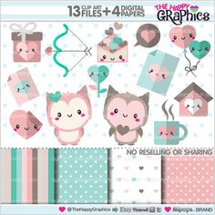 Love Clipart Valentines Day Clipart COMMERCIAL от TheHappyGraphics