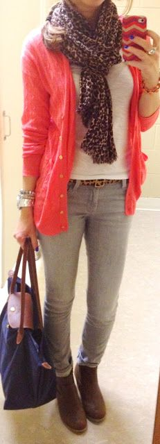 Hot pink cardigan + jeans and tee shirt + animal print accessories + booties -- via Lilly's Style.