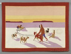 """Grenfell Pictorial Hooked Rug with Arctic Dog Sled Scene, Grenfell Handicrafts, Newfoundland and Labrador, late 20th century, the rectangular rug depicting two figures and a komatik with a team of five dogs in a northern landscape at sunset, woven maker's label affixed to the reverse inscribed """"Grenfell Handicrafts Newfoundland & Labrador, (minor light stain), 33 1/2 x 45 1/2 in. Estimate $600-800 Sold for $554"""