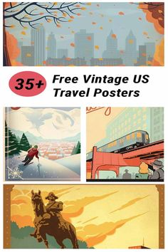 Put your favorite destinations or dream travel list on your walls with this collection of over 30 free vintage US travel poster printables.