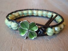 """Mint green leather bracelet """"a Clover in the Mint"""""""
