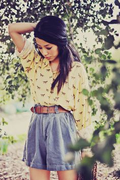Oh. I like this. Cute print shirt, such a soft slouch fit, but I wonder if I really could pull off those shorts?