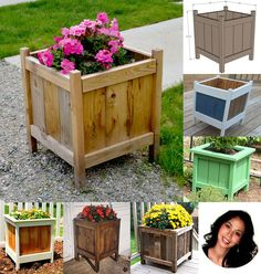 Best selection of free woodworking DIY plans for building a square planter box. Square planters for every style and taste. Easy, simple and all beautiful. Outdoor Planter Boxes, Square Planter Boxes, Diy Wood Planters, Planter Box Plans, Cedar Planter Box, Wood Planter Box, Planter Box Designs, Wooden Flowers, Construction