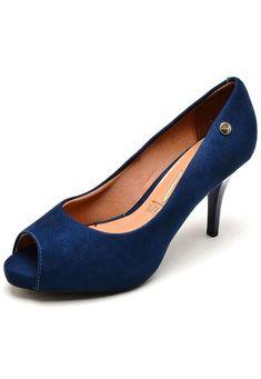 48c89494fd Peep Toe Vizzano Salto Fino Azul - Marca Vizzano