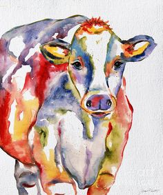 Colorful Cow-jp2490 Print By Jean Plout