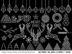Geometric Christmas clipart bundle, 126 black and white polygon clipart for cards, low poly, commercial use, EPS, SVG file, instant download
