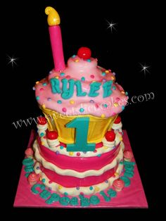 Cupcake Theme 1st Birthday Cake