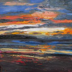 Sunset, Whitby by Judith I Bridgland Seascape Paintings, Landscape Paintings, Abstract Landscape, Abstract Art, Beach Sunset Painting, Australian Painters, Beach Canvas, Virtual Art, Art Drawings