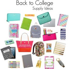 """""""Back to College - Supply Ideas"""" by jillllllllllian on Polyvore {FEATURING: Kate Spade, Lilly Pulitzer, Vera Bradley, and Jonathan Adler!}"""