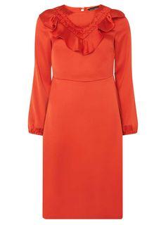 9d59f741f3 Rust Ruffle Front Midi Skater Dress - Dresses - Clothing - Dorothy Perkins  United States Midi