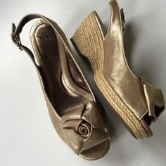 """Like new Sofft leather shoes Like new; Beautiful gold leather sling back wedges (3"""" with 3/4"""" platform). Smoke-free/pet-free home. Sofft Shoes"""
