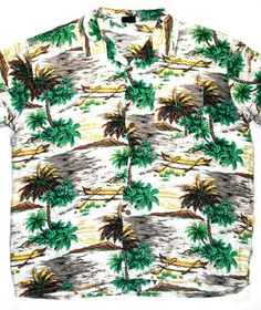 Vintage 90s Palm Trees Hawaiian Shirt Mens Size XL $30.00