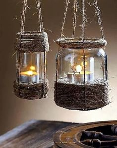 glass jar, twine, gravel and a tealight