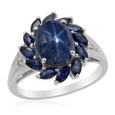 Liquidation Channel: Thai Blue Star Sapphire, Kanchanaburi Blue Sapphire, and Diamond Ring in Platinum Overlay Sterling Silver (Nickel Free)