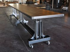 Post Industrial Table – Vintage Industrial Furniture images ideas from Home Table Ideas Industrial Drafting Tables, Industrial Dining, Vintage Industrial Furniture, Industrial Chic, Booth Dining Table, Cool Tables, Metal Furniture, Furniture Ideas, Unique Furniture