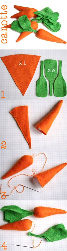 Tuto to make felt carrots. From the fam- Tuto to make felt carrots. From the fam Tuto to make felt carrots. Sewing Toys, Sewing Crafts, Sewing Projects, Craft Projects, Felt Diy, Felt Crafts, Easter Crafts, Crafts For Kids, Felt Food Patterns