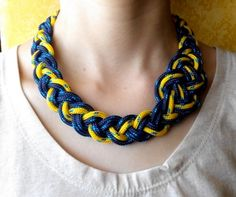 "Braided necklace, Necklace "" blue "", for women, Chain Necklace, unique necklace, marine necklace, paracord cord by HandmadeMinola on Etsy"