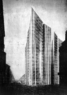 Mies van der Rohe - Freidrichstrasse Skyscraper Project, 1919? Charcoal version