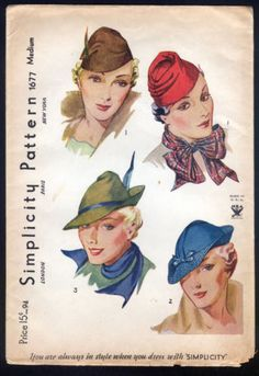 1930 Simplicity Pattern - Ladies Hats in Several Styles