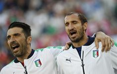 Gianluigi Buffon and Giorgio Chiellini, that's how you sing a national anthem #EURO2016