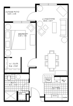 One Bedroom Apartment Plan Winsome 1 Apartments Floor