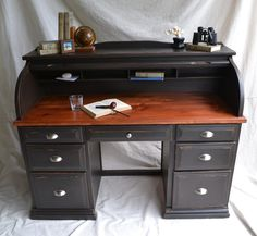 black painted Roll Top Desk Plans | the desk has seven drawers each with nickel plated pulls