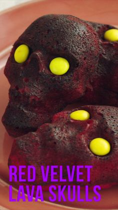 Sweet and scary Red Velvet Lava cakes with a gooey, gruesome chocolate filling.