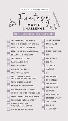 Fantasy Movie Challenge Checklist ~ How many have you watched? From Narnia to Ho… Fantasy Movie Challenge Checklist ~ How many have you watched? From Narnia to Ho…,Film & Series Fantasy Movie Challenge Checklist. Netflix Movie List, Films Netflix, Netflix Movies To Watch, Movie To Watch List, Netflix Series, Bucket List Movie, Movies To Watch Teenagers, Disney Movies To Watch, Teen Movies