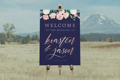 DIY Printable Rustic Watercolour Floral Wedding Welcome Sign | Calligraphy | Rustic Vintage | Custom Designs Available | Navy & Rose Gold