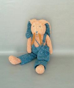 Plush Stuffed Bunny Doll  Knitted Bunny Toy  Easter by LGsignD, $34.00
