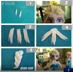 Elsa Fondant Figurine Tutorial how to braid her hair for a cake figurine. Fondant Toppers, Fondant Cakes, Cupcake Cakes, Mini Cakes, Cupcakes, Bolo Frozen, Frozen Cake, Frozen Fondant, Cake Topper Tutorial