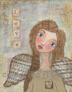 Angel of Love Mixed Media Painting Vintage by TheresaBarnesArtist