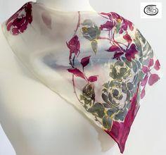 Pañuelo de seda natural 100%  Pongé 06 pintado a mano. por Artodos
