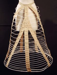 """1860s cage crinoline. Met dates to 1862 with no explanation, but looks more like """"66 or later -- I suspect '62 is just a patent date, probably on the buckle. Met Museum. [jrb]"""